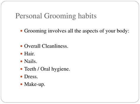 For Your Hair And Personality Grooming by Ppt Personal Grooming Powerpoint Presentation Id 1463789