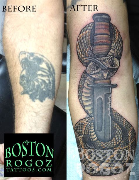 bostonrogoz usmc kabar and rattlesnake coverup tattoo usmc