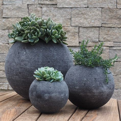 lava stone circular plant pots gardening and living