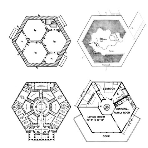 hexagon house floor plans hexagon plans from left to right harriet irwin hexagonal
