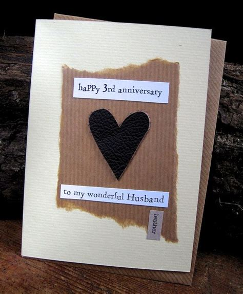 Handmade Gifts For Husband On Anniversary - 3rd wedding anniversary card leather husband traditional