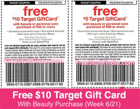 Target Gift Card Codes - free 10 gift card with beauty purchase at target week 6 21