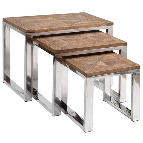 Rustic Nesting Tables by Haverley Rustic Recycled Elm Steel Nesting Tables Set Of