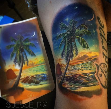 sunset on a tropical beach best tattoo design ideas