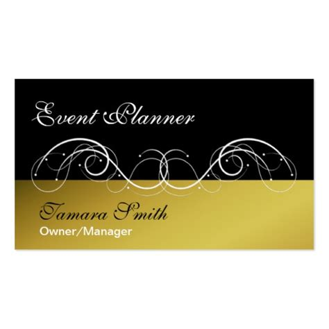 Event Card Template by Black Gold Event Planner Business Card Template Zazzle