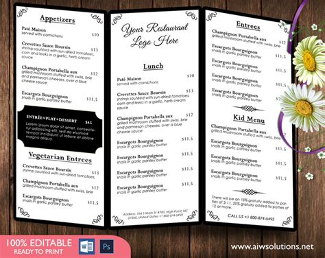 Tri Fold Menu Template design templates menu templates wedding menu food menu bar menu template bar menu