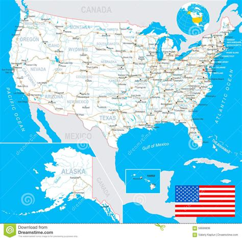 united states usa map flag navigation labels roads