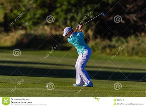professional golf swing golf pro girl top swing editorial image image 26979210