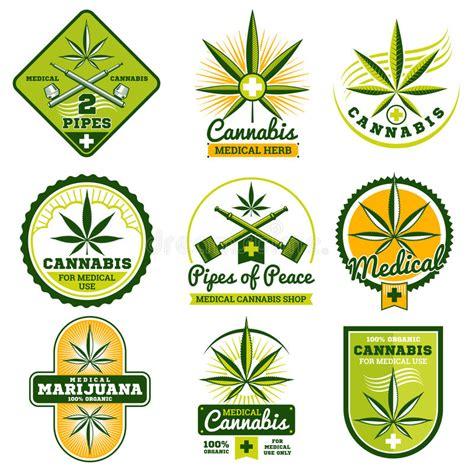 labelling logo use labelling logo use pefc marijuana hashish drug medicine vector logos and labels