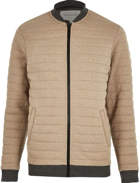 Mens Quilted Jacket River Island by River Island Mens Light Brown Quilted Bomber Jacket