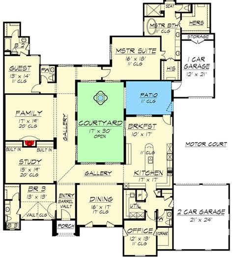 home plans with central atrium