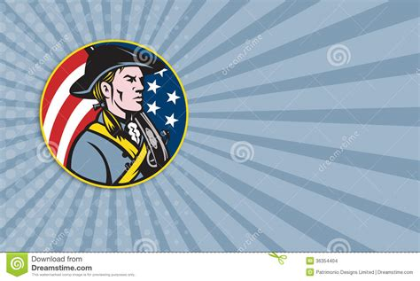patriot businwss card template american patriot minuteman with flag stock images image