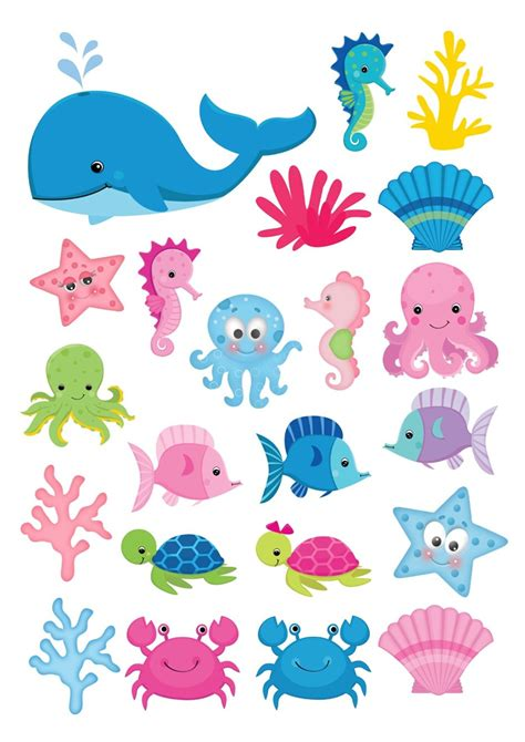 printable ocean animal cutouts 22 under the sea fish shapes theme cake toppers on icing