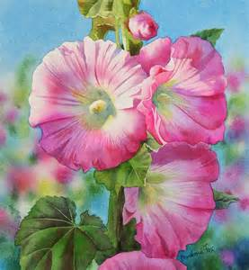 Barbara fox daily paintings pink hollyhocks watercolor flower