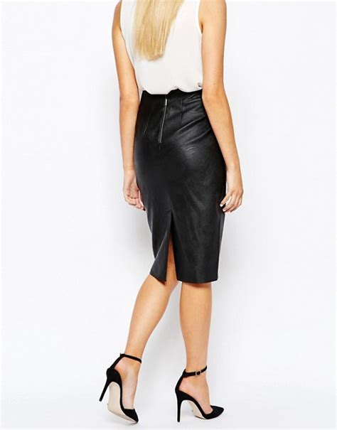 oasis oasis clean high waisted leather look pencil skirt