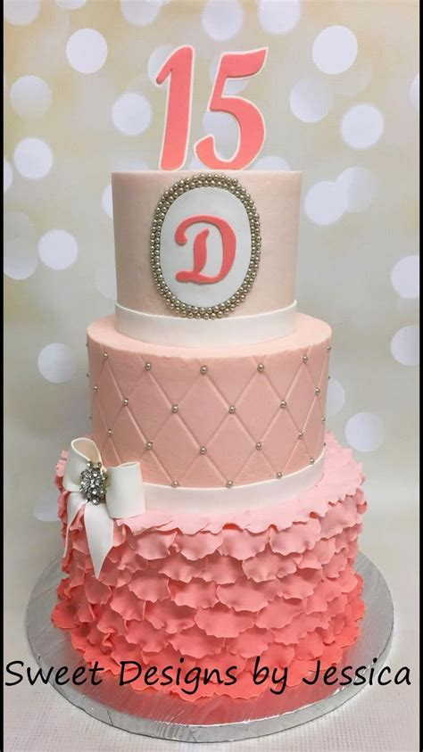 quinceanera themes ideas coral quinceanera coral ombr 233 cake my cakes pinterest