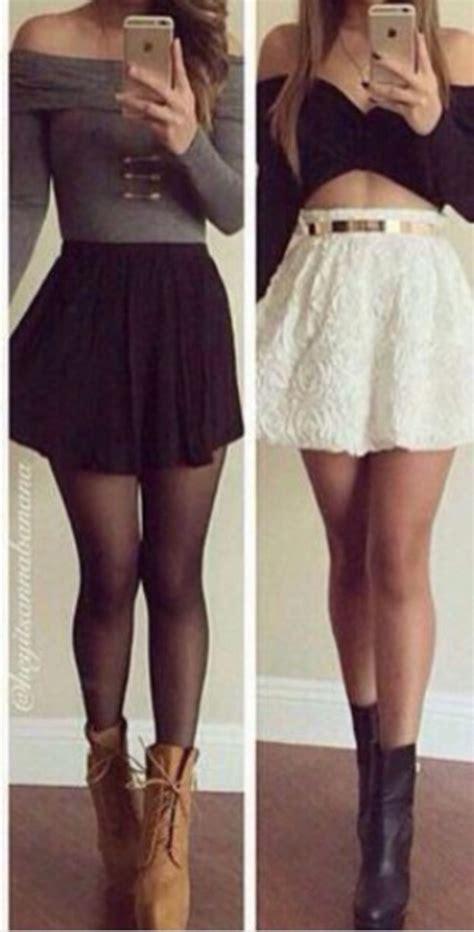 Skirt Legging Black top grey top black skirt black tights grey sleeve