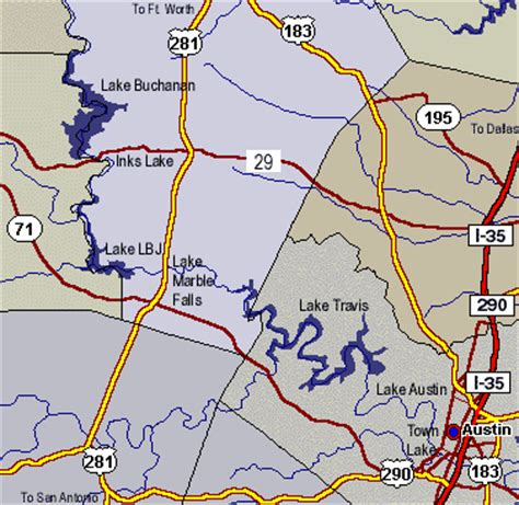 highland lakes texas map highland lakes of central texas