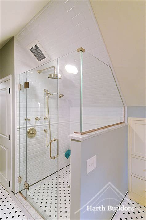 bathroom slope sloped ceiling shower traditional bathroom