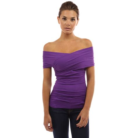 V Neck Shoulder Top womens v neck shoulder top blouse going out clubbing tops ebay