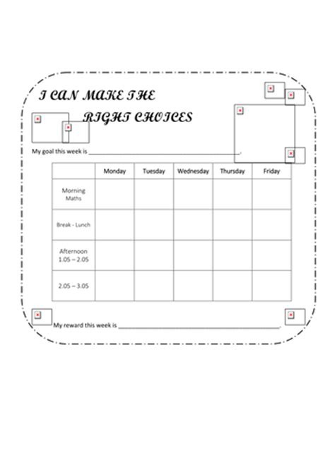 Target Card Template Ks2 by Weekly Behaviour Management Target Reward Chart By Googlie