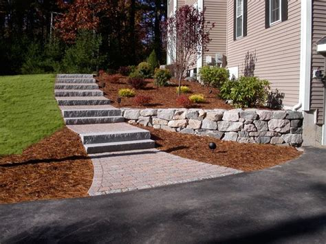 natural steep slope landscaping ideas granite steps paver walkway granite wall and garden
