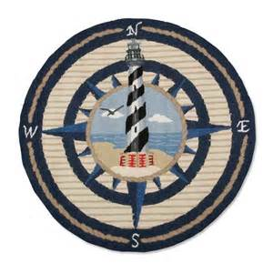 Lighthouse Rug Wool Area Rug With Nautical Compass Rose And Lighthouse