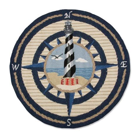 Wool Area Rug With Nautical Compass Rose And Lighthouse Compass Rug