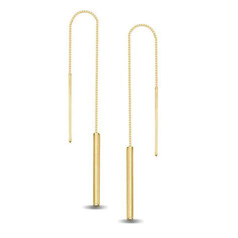 Bar Threader Earrings linear bar threader earrings in 14k gold view all