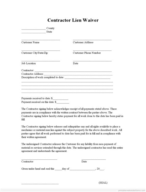 lien release template sle printable contractor lien waiver form printable