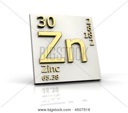 zinc form periodic table of elements stock photo stock