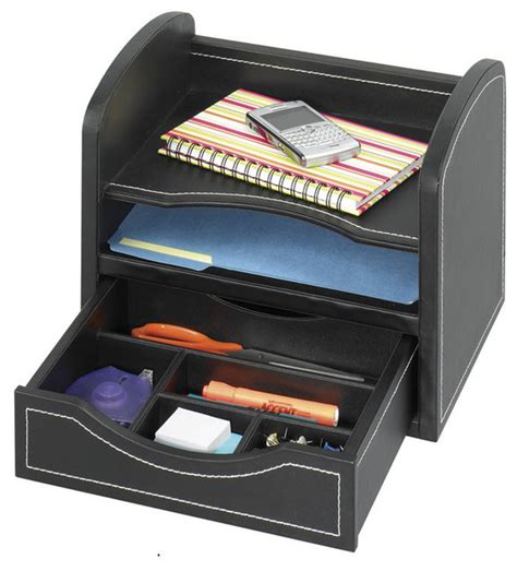Desk Accessories Organizers Safco Leather Look Desk Drawer Organizer In Black Transitional Desk Accessories By Cymax
