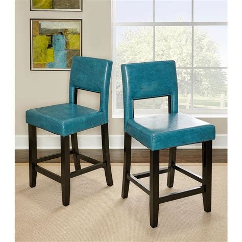 Linon 24 In Stool by Linon Home Decor 24 In Agean Blue Cushioned Bar