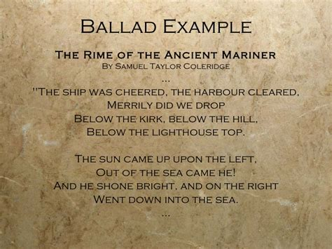exle of ballad types of poems