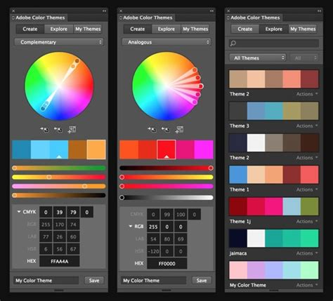 adobe color app create color themes for use in all your adobe cc apps