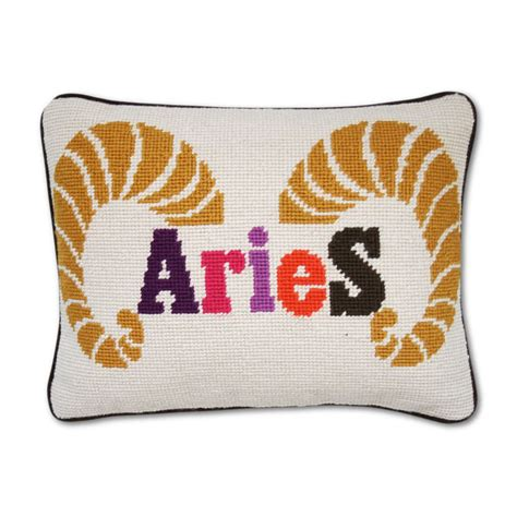 aries zodiac needlepoint throw pillow modern jonathan