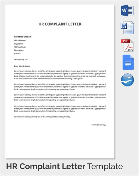 hr letter templates free sle hr complaint forms 9 free documents in