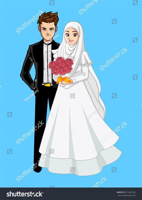 Muslimah Wedding Vector by Muslim Wedding Roses Stock Vector 671667520