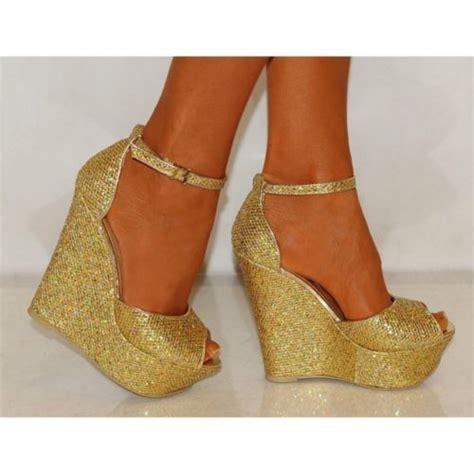 gold shimmer glitter peep toe ankle wedges