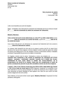 Fin De Lettre Entreprise Exemple Gratuit De Lettre Contestation Demande Versement Indemnit 233 Fin Contrat Travail Rupture