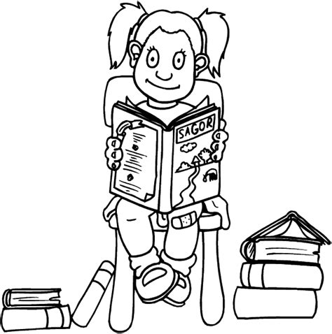 coloring pages girl reading girl reading coloring page