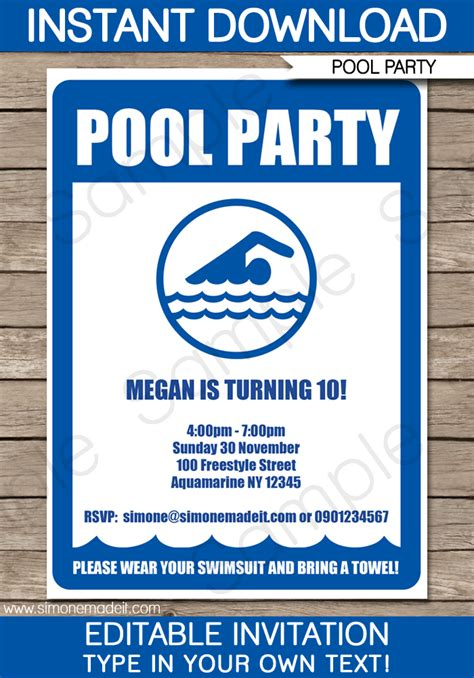pool invitations templates free pool invitations birthday template