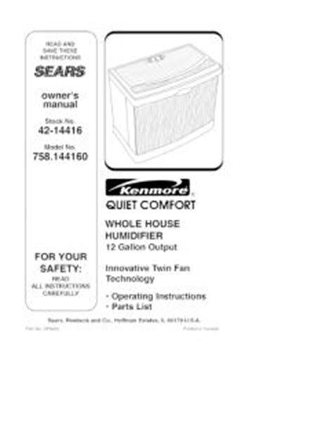Kenmore Comfort 12 Humidifier by 758 144160 Kenmore Comfort Whole House Humidifier 12