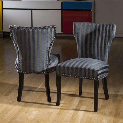 Grey Striped Dining Chairs Luxury Set Of 2 Wing Back Striped Dining Chairs Black Grey Charcoal Ebay