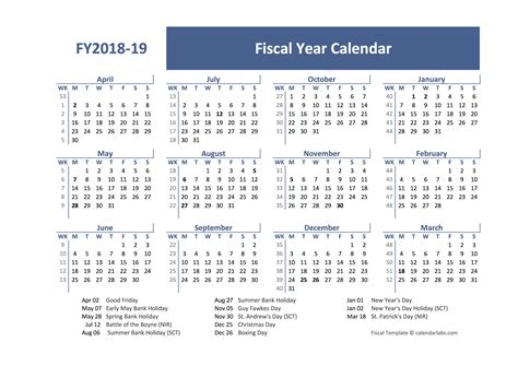 2018 Fiscal Year Calendar Template Uk Free Printable Templates Accounting Calendar Template