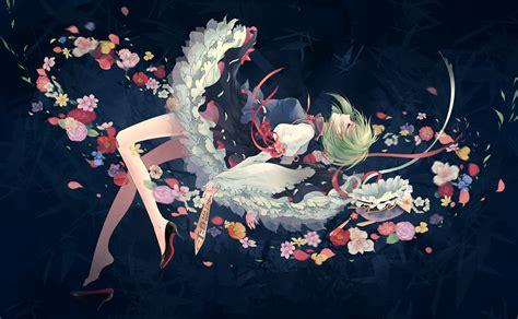 Anime Art Falling Anime Girls Falling Down Flower Petals Flowers Green Eyes
