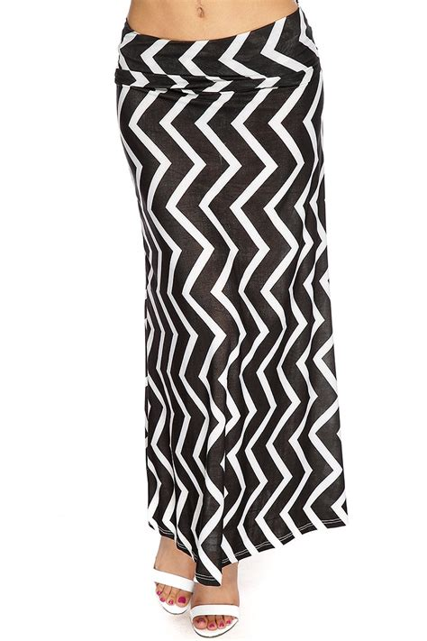 black white chevron print maxi skirt