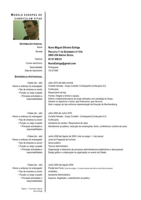 Modelo Curriculum Vitae Europeu Em Portugues Curriculum Vitae