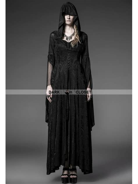 pattern gothic dress punk rave black pattern hooded gothic vire medieval
