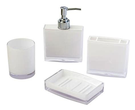white plastic bathroom accessories justnile 4 piece bathroom accessory set basic plastic